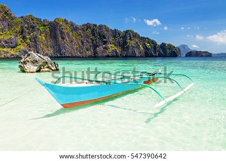 Filipino boat in the sea, El Nido, Philippines