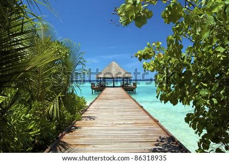 Filitheyo Island resort pier - stock photo