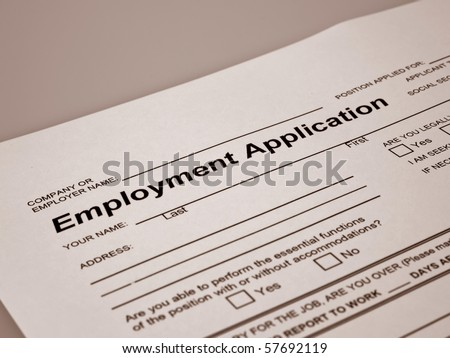 Fill in the name and address in the Employment form - stock photo