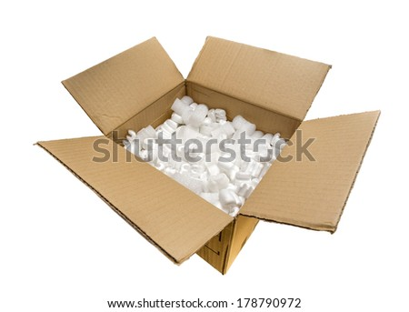 Fill packaging peanuts and bubble pack in a cardboard box, isolated on white background
