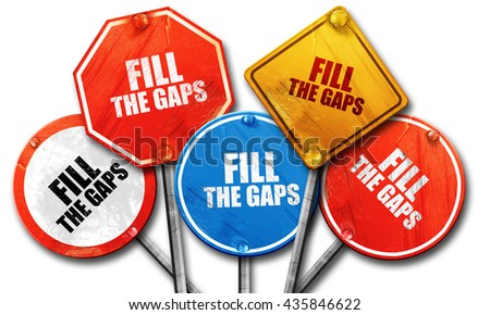 fill the gaps, 3D rendering, rough street sign collection - stock photo