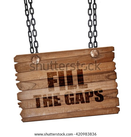 fill the gaps, 3D rendering, wooden board on a grunge chain - stock photo