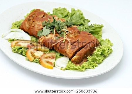 filled of fish on white background  - stock photo