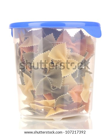 Filled plastic container isolated on white
