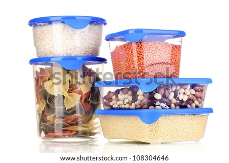 Filled plastic containers isolated on white - stock photo