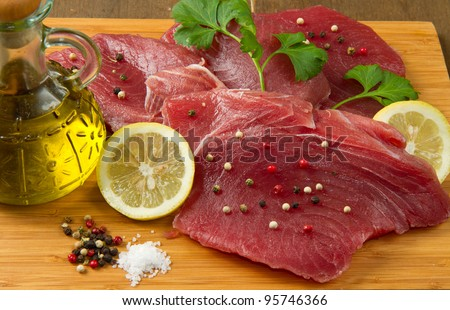 fillet of fresh tuna - stock photo