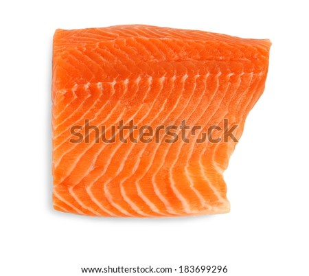Fillet of salmon, isolated, close up - stock photo