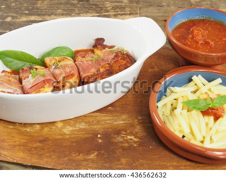 fillet with chicken with vegetables and pasta - stock photo