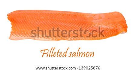 filleted salmon isolated on white background - stock photo