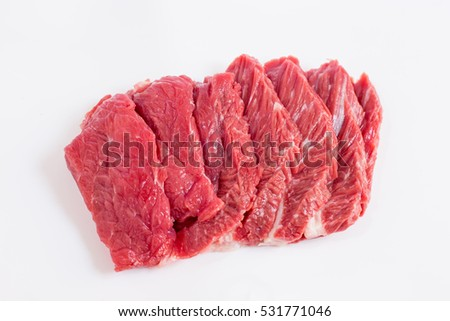 Fillets of beef on white background
