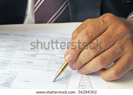 Filling a form - stock photo