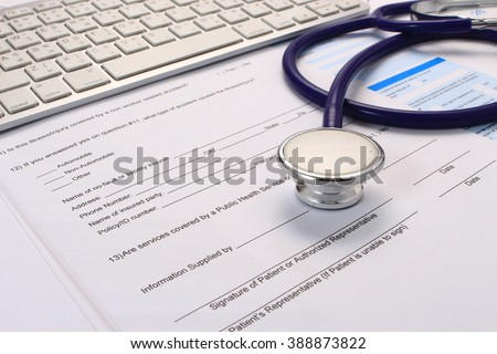 Filling Medical Form, document, stethoscope