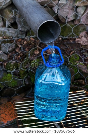 Filling of a plastic bottle spring water in the natural source