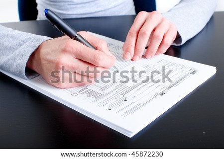 Filling of the Form 1040. Standard US Income Tax Return