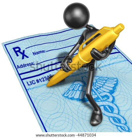 Filling Out A Medical Prescription With Gold Pen - stock photo