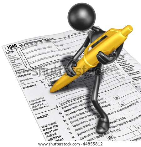 Filling Out Tax Form With Gold Pen - stock photo