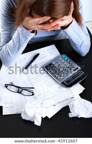 Filling theTax Form. Standard US Income Tax Return - stock photo