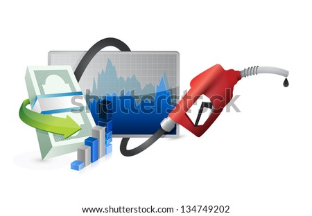 filling up the economy with a gas pump nozzle illustration design over a white background - stock photo