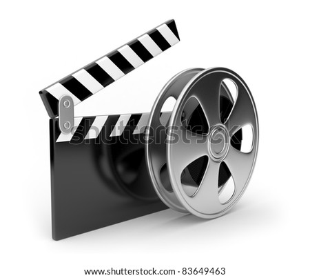 Film and  clap board movies symbol 3d. Isolated - stock photo