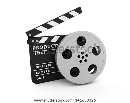 Film and Clapper board - stock photo