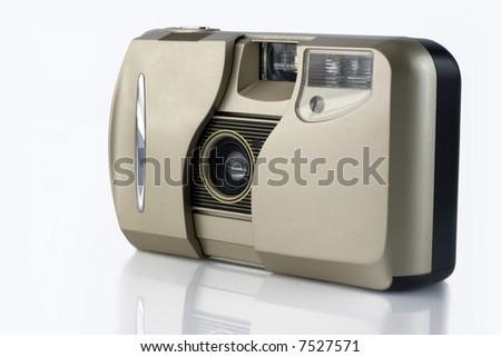 Film camera isolated on white background - stock photo