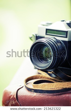 Film cameras that had been popular in the past - stock photo
