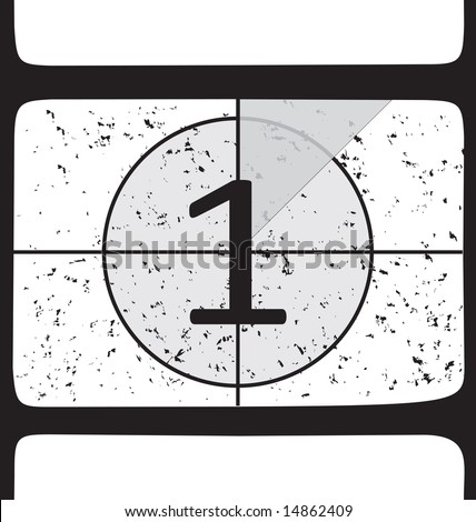 Film countdown at number 1. Vector illustration - stock photo