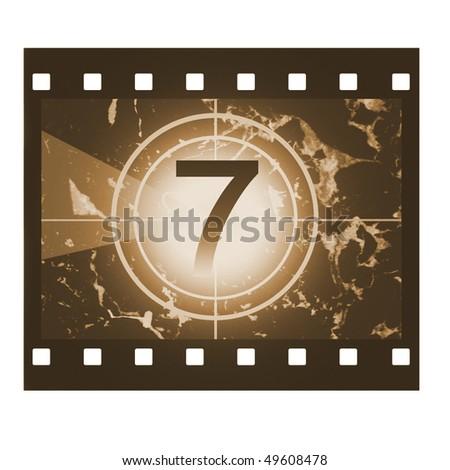 Film countdown in sepia design at No 7 - stock photo