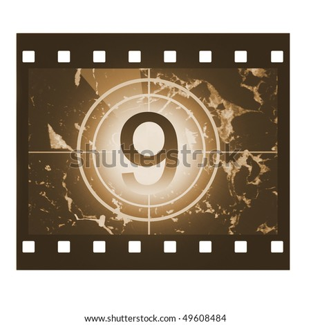 Film countdown in sepia design at No 9 - stock photo