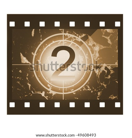 Film countdown in sepia design at No 2 - stock photo