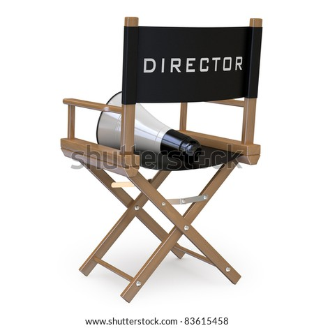Film director's chair with a megaphone back view