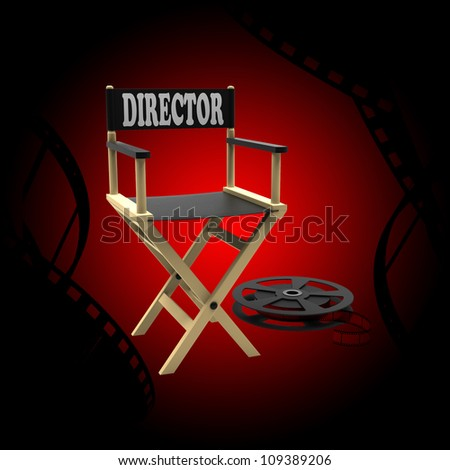 Film industry: directors chair with film strip - stock photo
