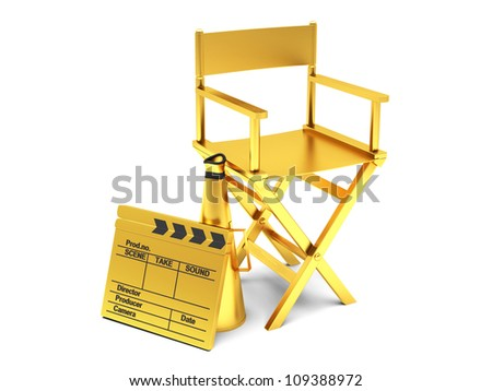 Film industry: golden directors chair with movie clapper - stock photo