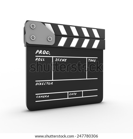 Film movie clapper isolated on white background. 3d render image. - stock photo
