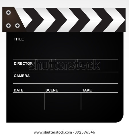 Film, movie clapper realistic icon isolated on white background. - stock photo