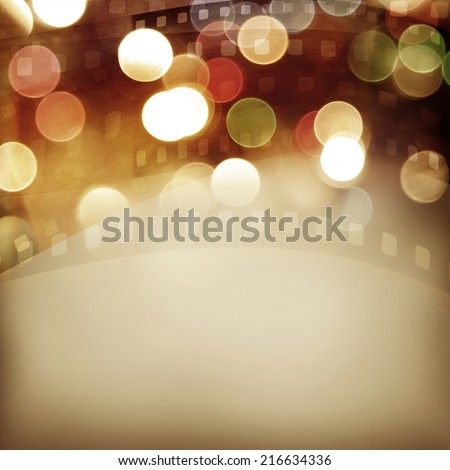 Film negative frames and colorful lights - stock photo