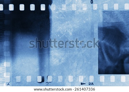 Film negative frames, blue tone - stock photo