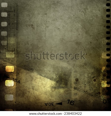 Film negative frames on grunge background - stock photo