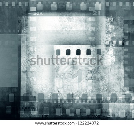 Film negative frames overlapping - stock photo