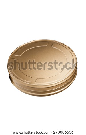 Film Reel Canisters Isolated on White Background. Classic Gold Movie Film Can. - stock photo