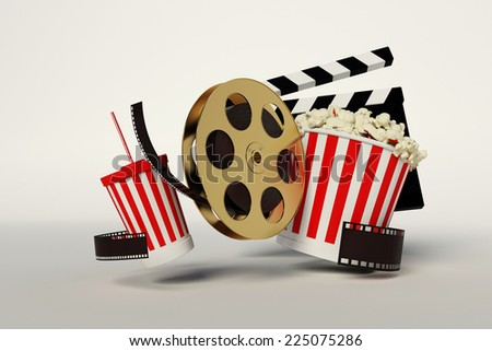 Film reel,popcorn,movie strip,disposable cup for beverages with straw on the withe background - stock photo
