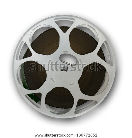 Film reel with a small shadow, clipping path included to remove the shadow - stock photo