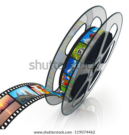 Film reel with filmstrip with colorful pictures isolated on white background with reflection effect - stock photo