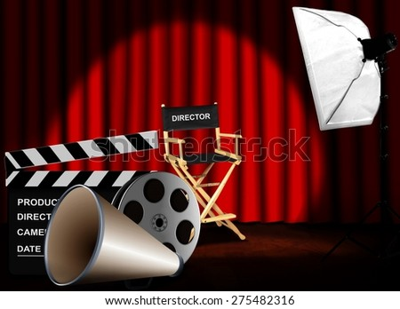 Film reel with megaphone and director chair - stock photo