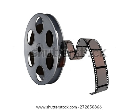 Film reel with twisted cinema tape on white - stock photo