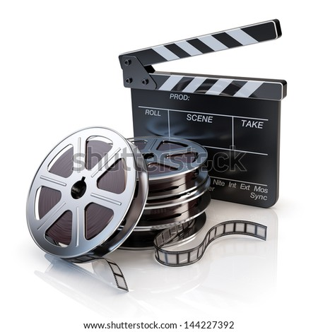 Film Reels and Clapper board - video icon - stock photo