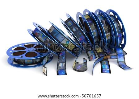 Film reels. Hi-res digitally generated image. - stock photo