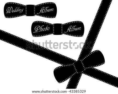 Film ribbon on white background with different texts