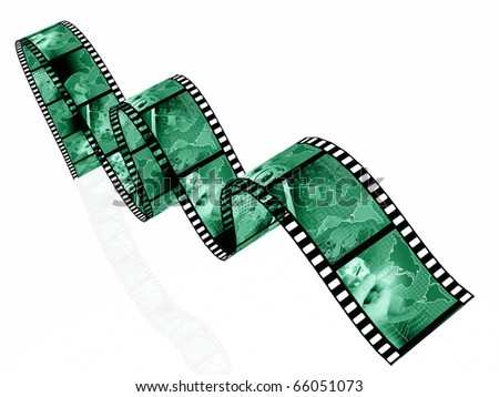 Film rolls with pictures in greens (communication).