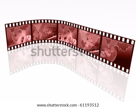 Film rolls with red pictures (communication).
